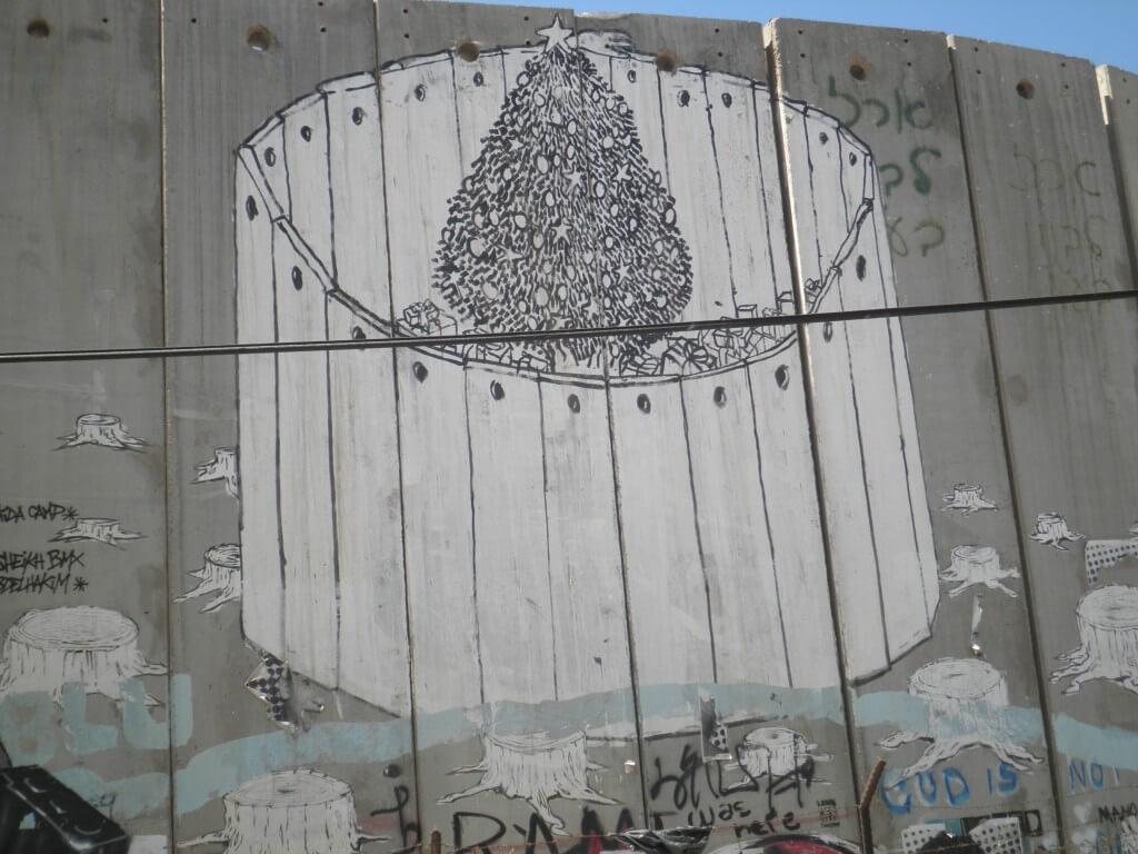 パレスチナ自治区 ヘブロン 分離壁 風刺絵