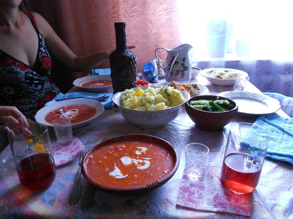海外ホームステイ ウクライナ料理 ボルシチ ワイン ウォッカ ジトミール