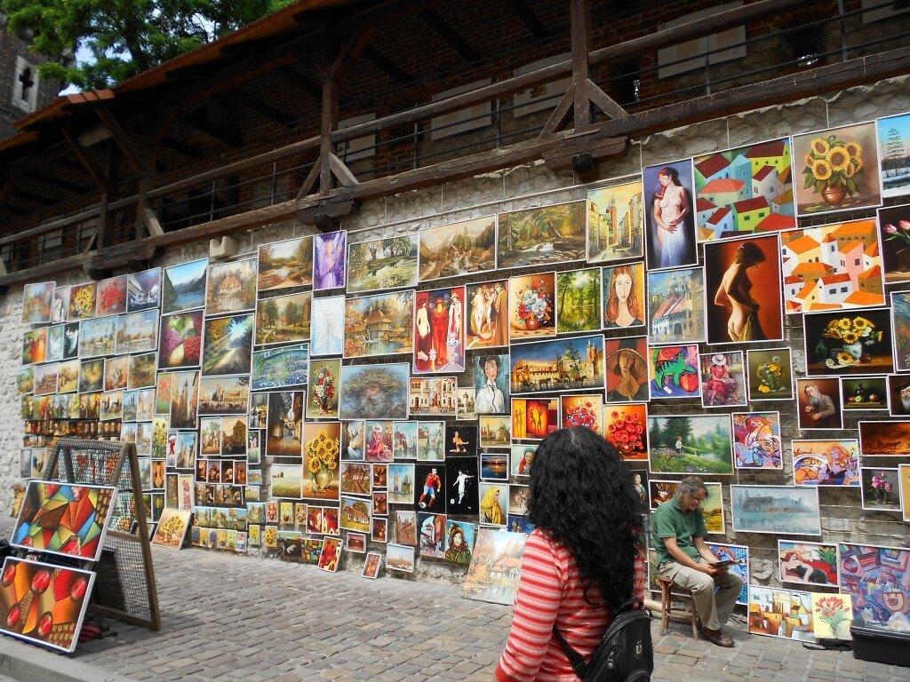 絵画販売 ストリート クラクフ ポーランド