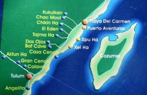 プラヤ・デル・カルメンの周りにはセノーテのダイビングポイントがたくさんある!有名なのはChac Mool(チャックモール)とKukulkan(ククルカン)