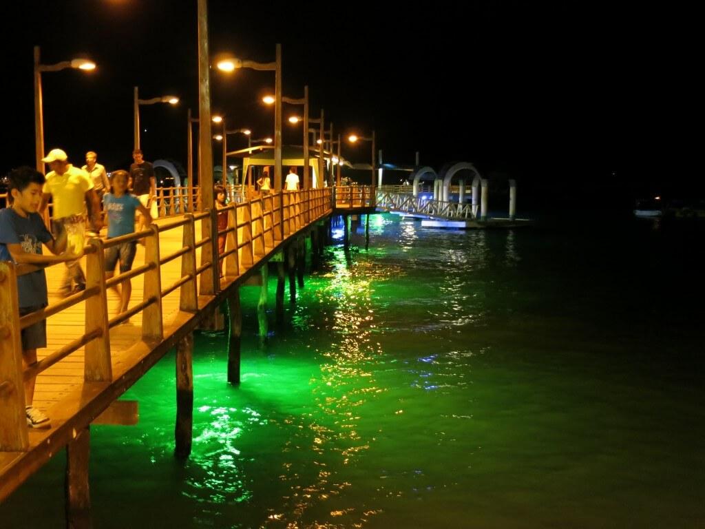 桟橋もライトアップ ガラパゴス諸島 サンタ・クルス島 プエルト・アヨラ