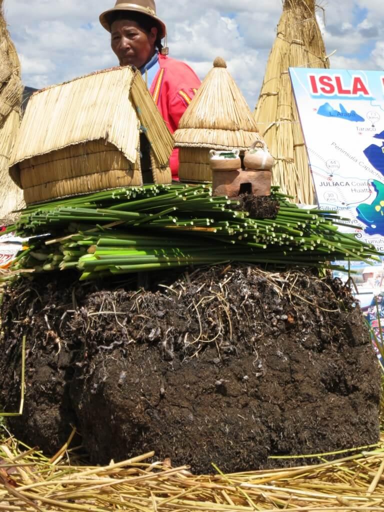チチカカ湖の浮島ウロス島上陸!トトラは島にも家にもなるし、食べれるし薬にもなるんだよ!