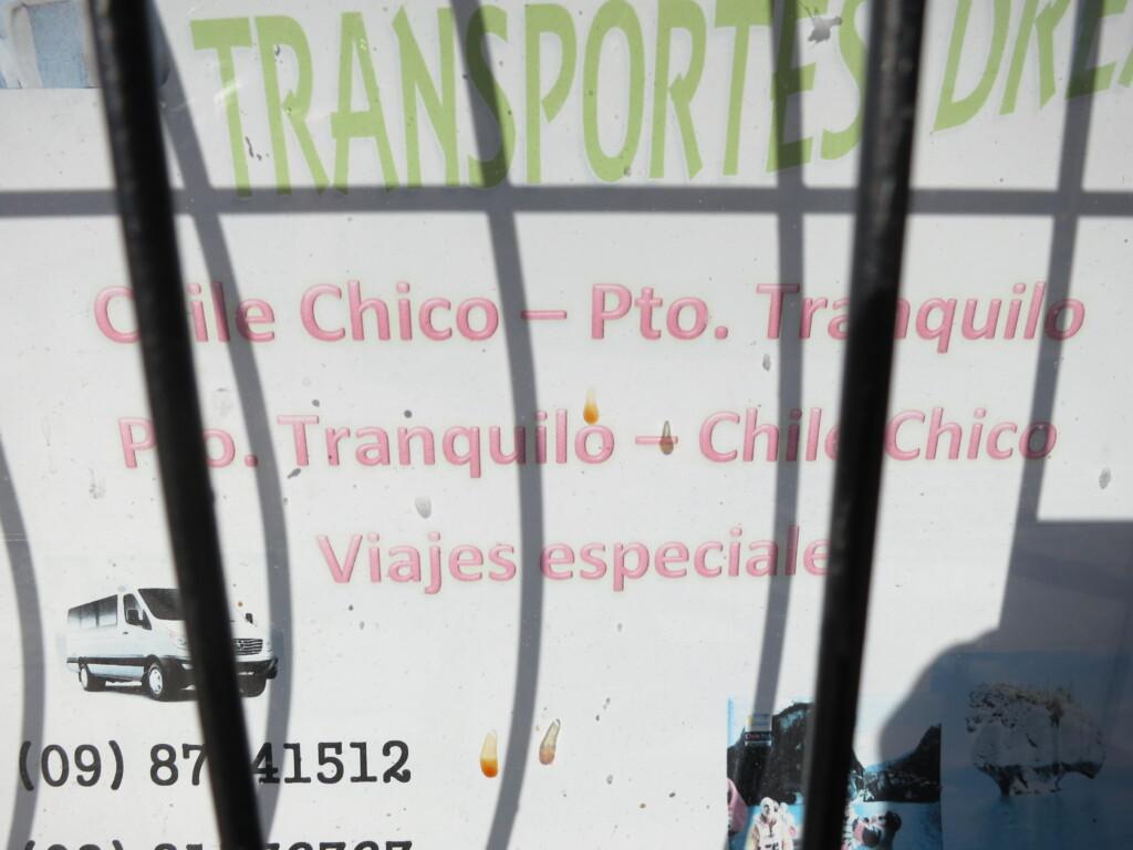 チレ・チコ プエルト・リオ・トランキーロ ミニバス 時刻表