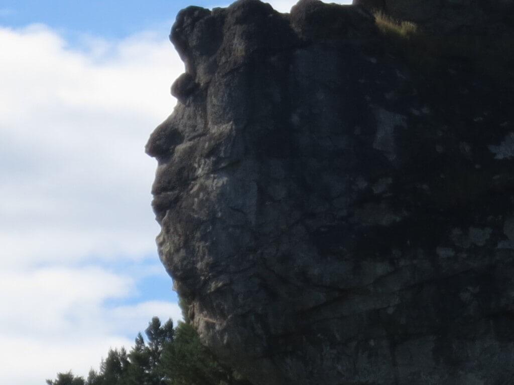 コジャイケ 観光地 川 人の顔の岩