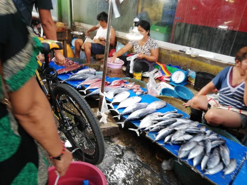 セブ島のカルボンマーケットでは魚もお肉もその場で裁いてキロ売りです