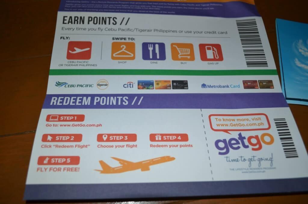 セブパシフィック航空のGetGo会員ならポイントが貯めれて、フライトの予約に使える!