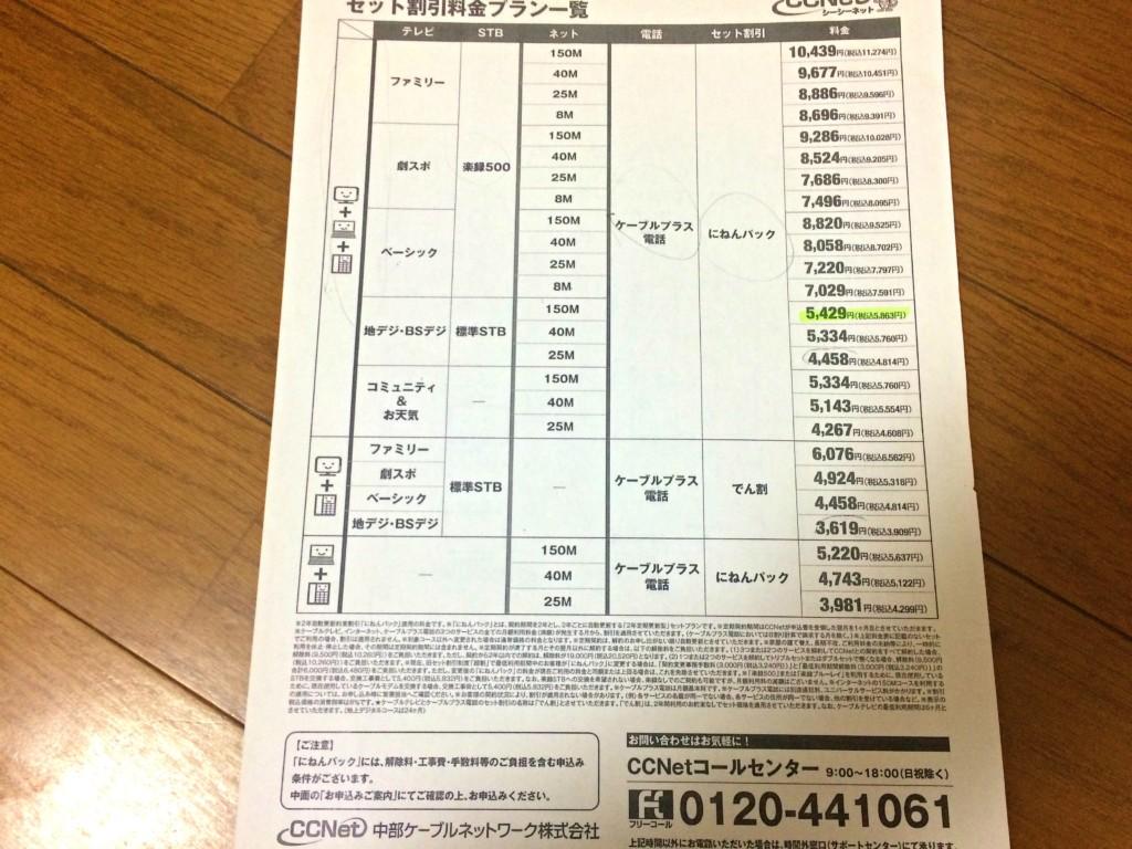 CCネットの契約内容や料金