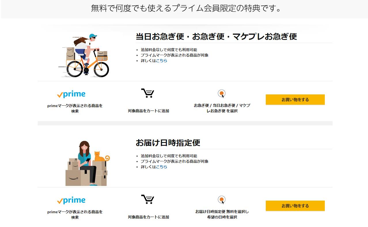 Amazonプライム会員なら引き続き送料が無料だしお急ぎ便やお届け日時指定便なども無料