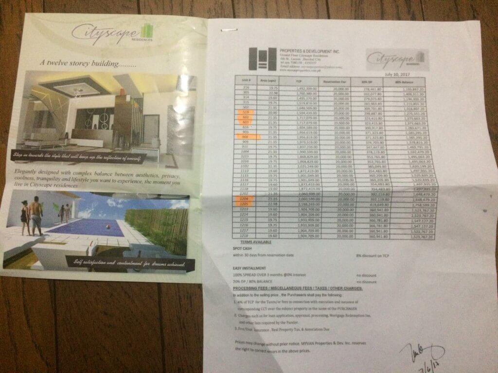 シティスケープレジデンス(Cityscape Residences)のユニットや値段