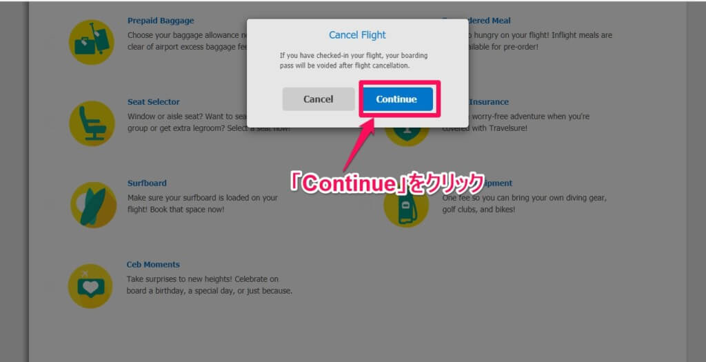 Purchase Add-ons,Change or Cancel Flightを選択