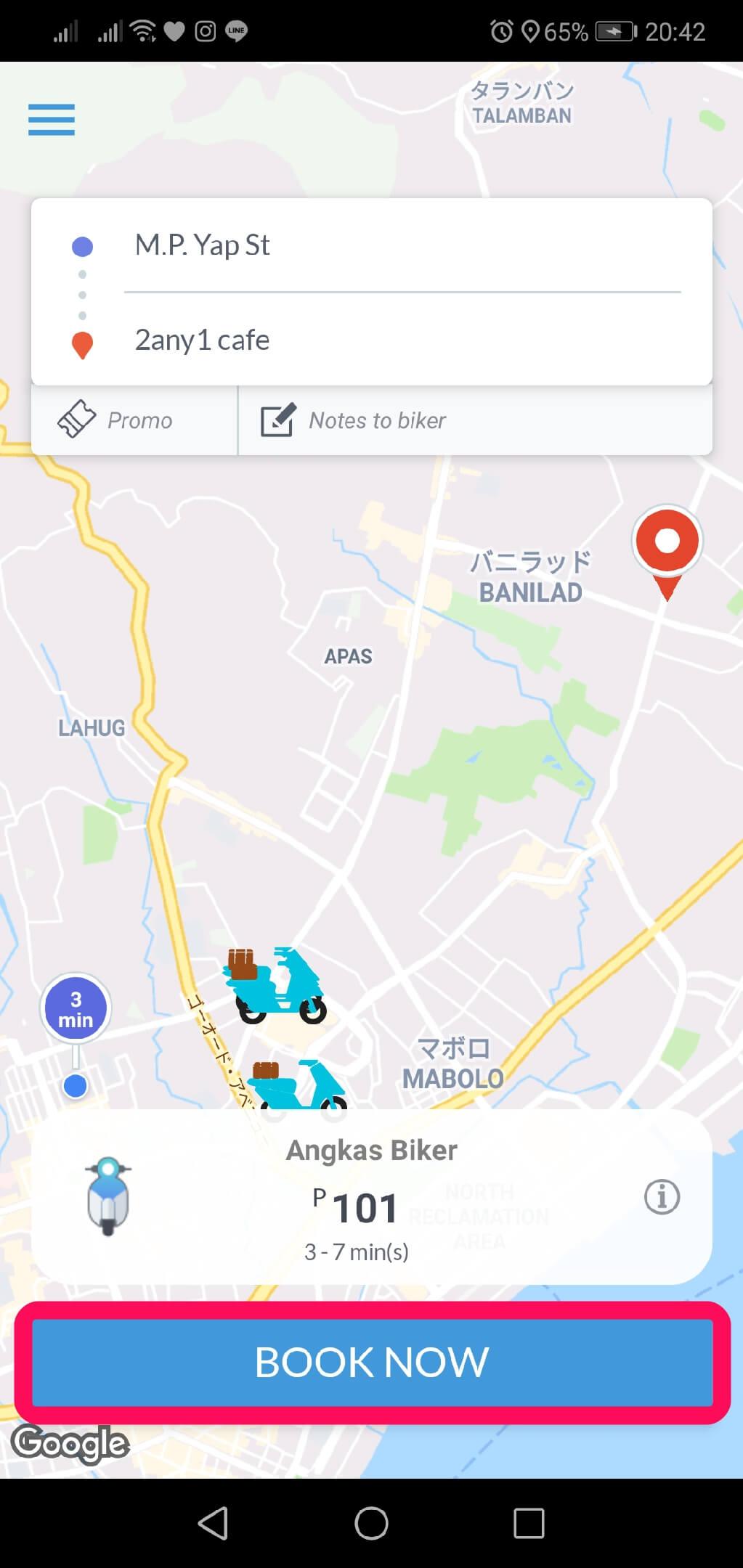 「BOOK NOW」で近くのAngkas(アンカス)のドライバーを探す